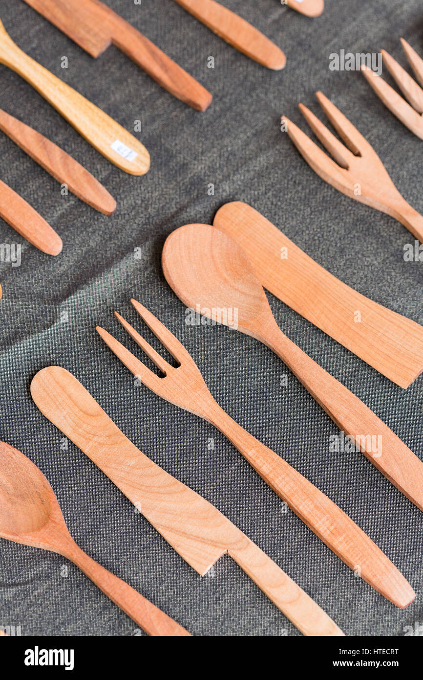 Local Market Tool >> Wooden Cutlery On Display At A Local Market In The South Of France