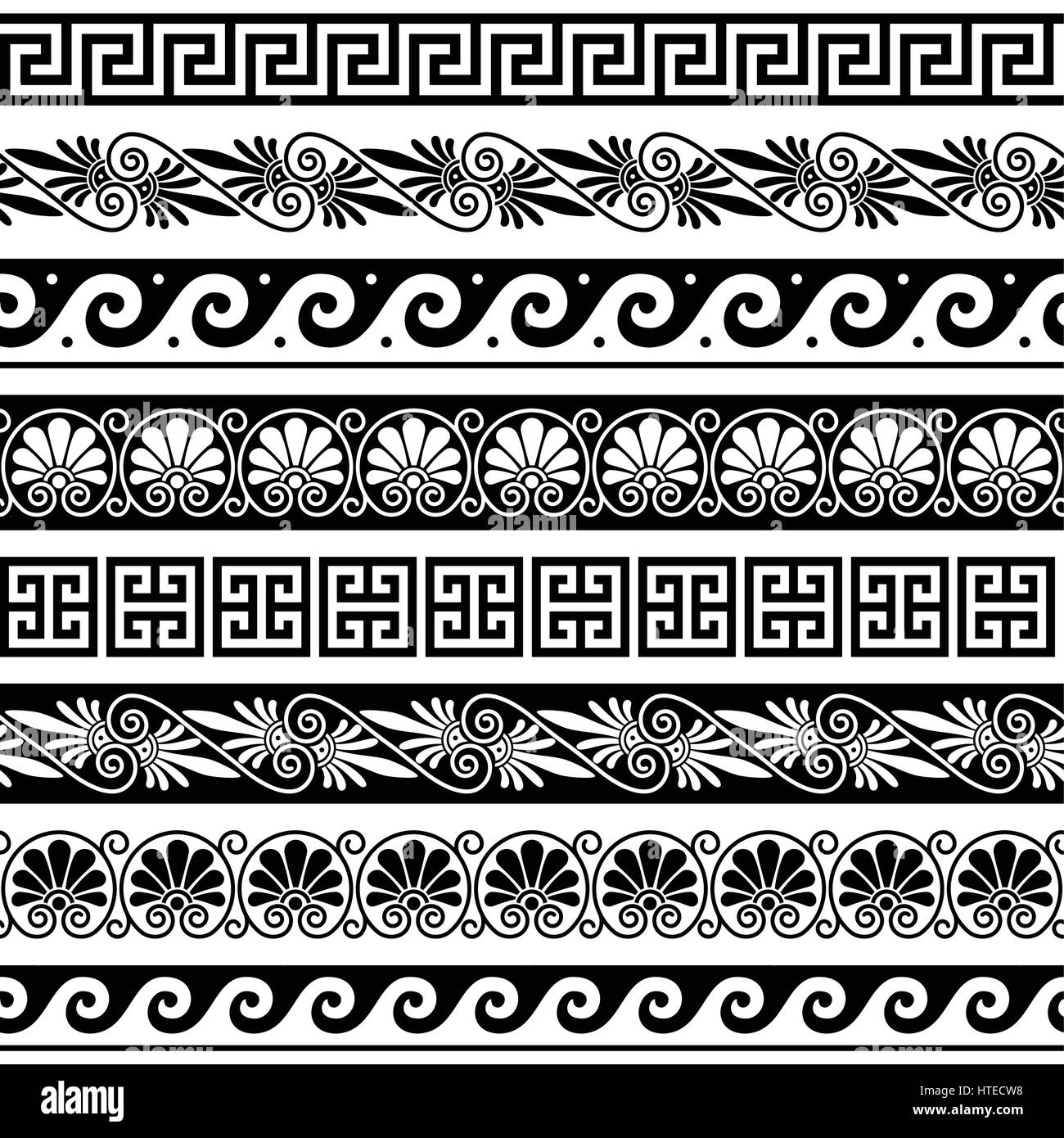 Ancient greek pattern seamless set of antique borders for Greche decorative