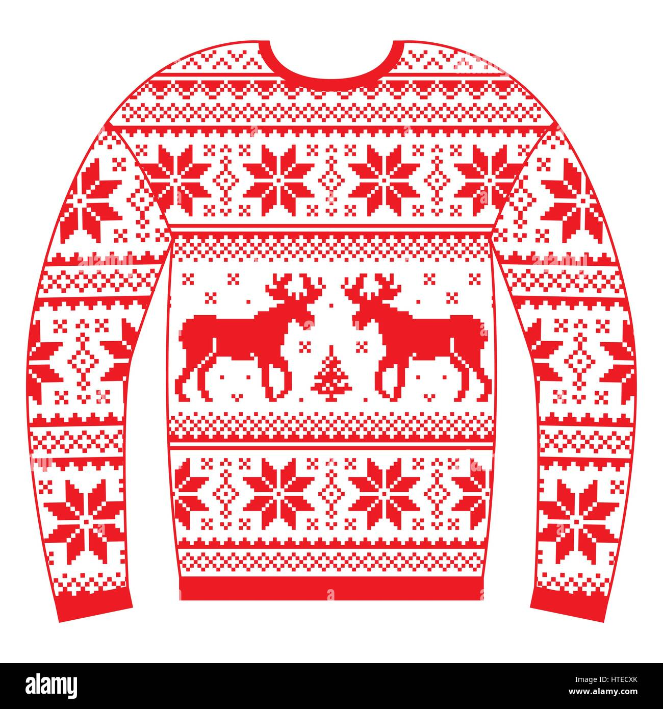3444daf9f382 Ugly Christmas jumper or sweater with reindeer and snowflakes red pattern