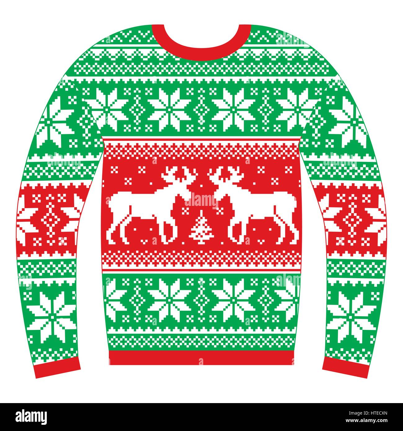 Ugly Christmas jumper or sweater with reindeer and snowflakes red ...