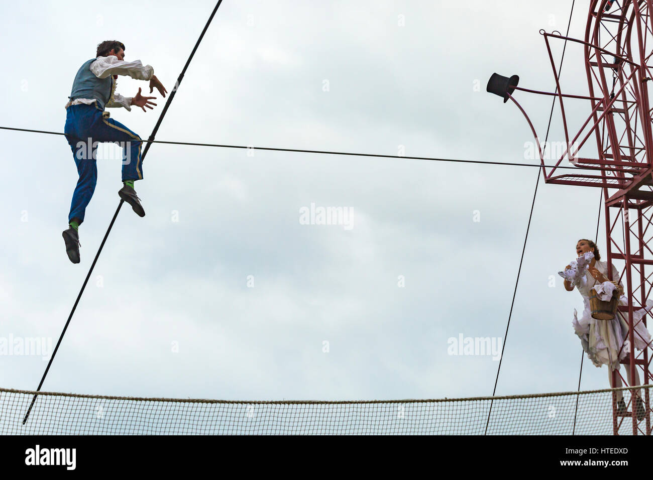 Bullzini Family present Equilibrius feats on highwire at Up in the Air at Harbourside, Baiter Park, Poole in September - Stock Image