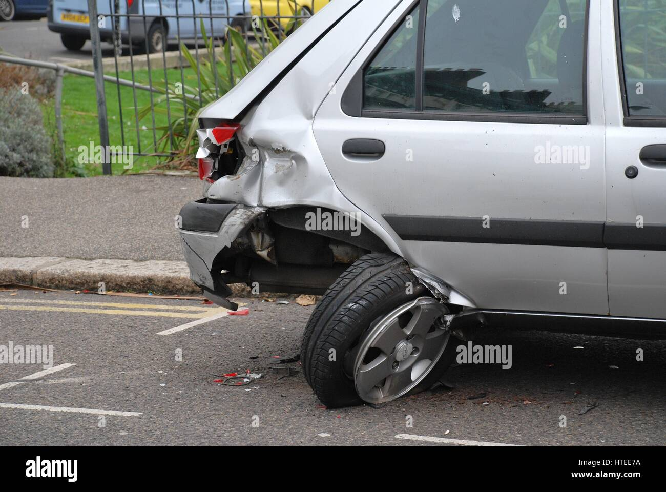 A badly damaged Ford Fiesta car after a traffic accident at Warrior Square in St.Leonards-on-Sea in East Sussex, - Stock Image