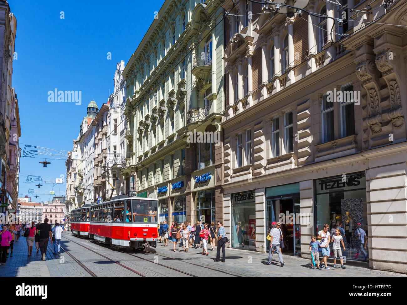 Brno. Shops and tram on Masarykova in the city centre, Brno, Moravia, Czech Republic - Stock Image