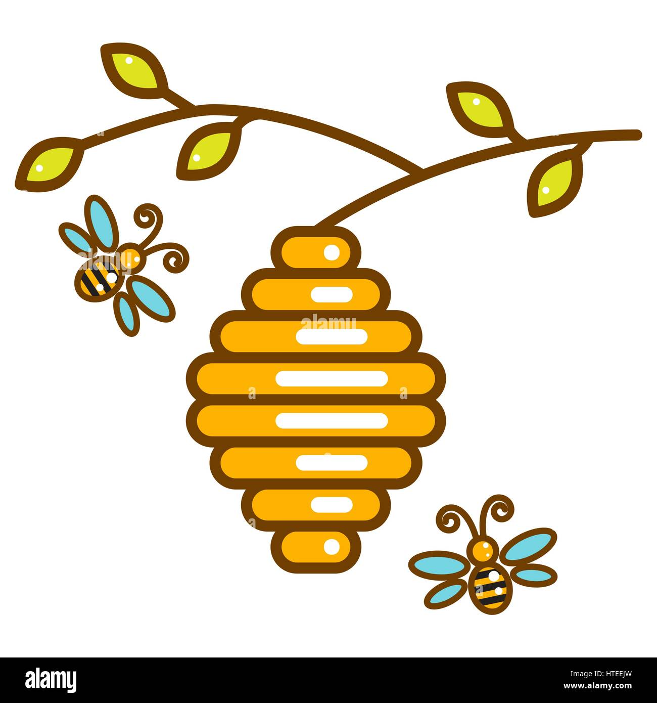 Cute vespiary with bees line isolated icon. - Stock Vector
