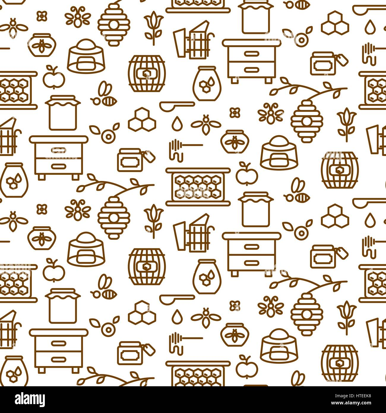 Apiary outline icon seamless vector pattern. - Stock Vector