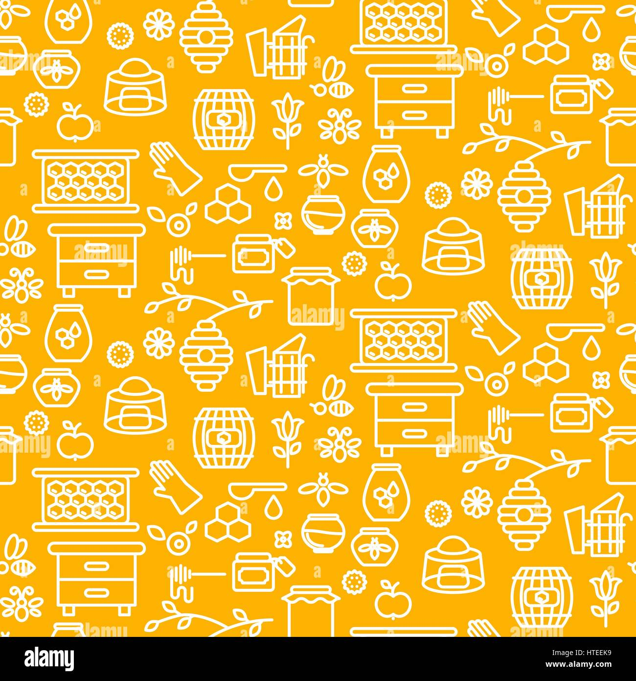 Honey outline icon seamless vector yellow pattern. - Stock Vector
