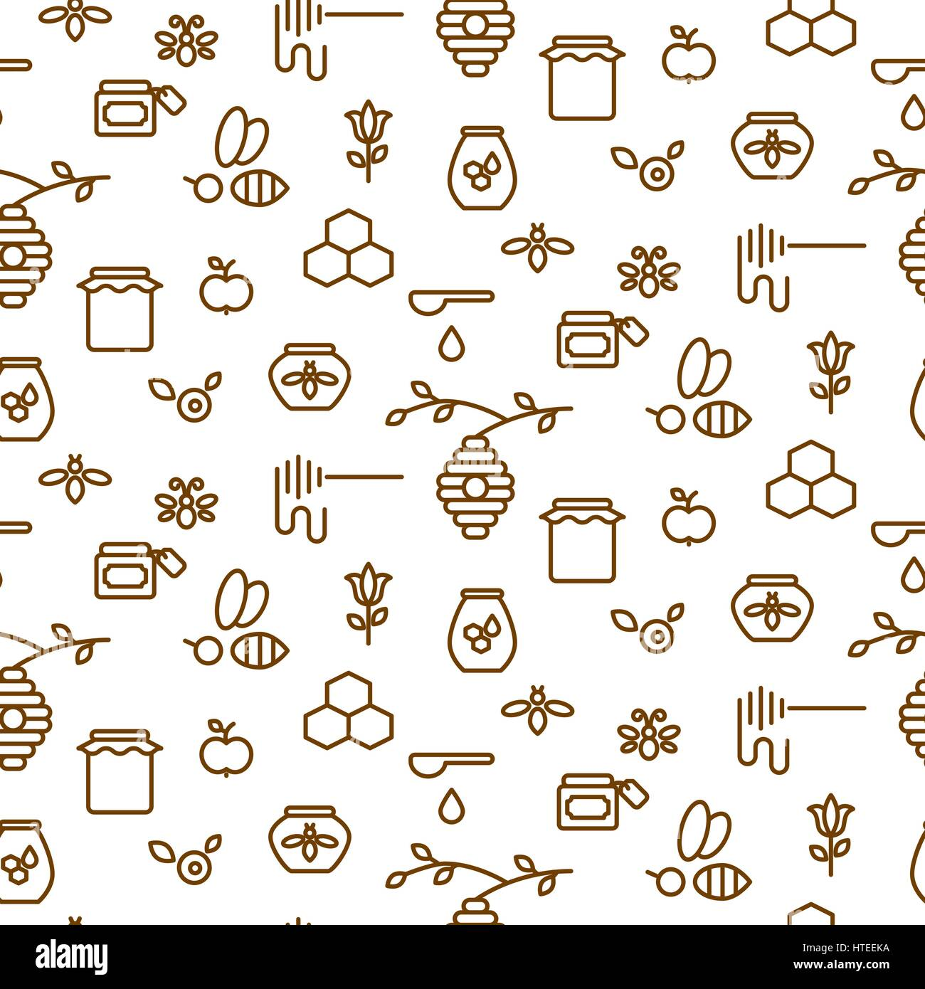 Beekeeping outline icon seamless vector pattern. - Stock Vector