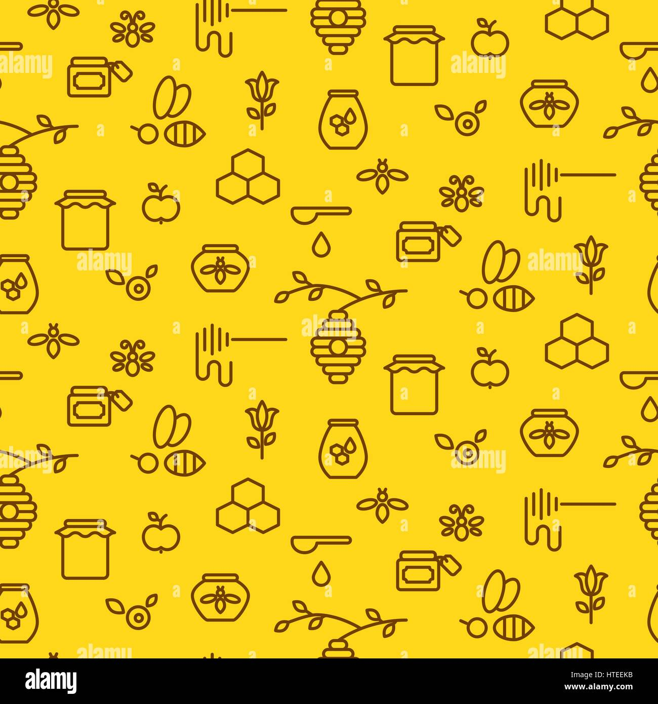 Honey outline yellow icon seamless vector pattern. - Stock Vector