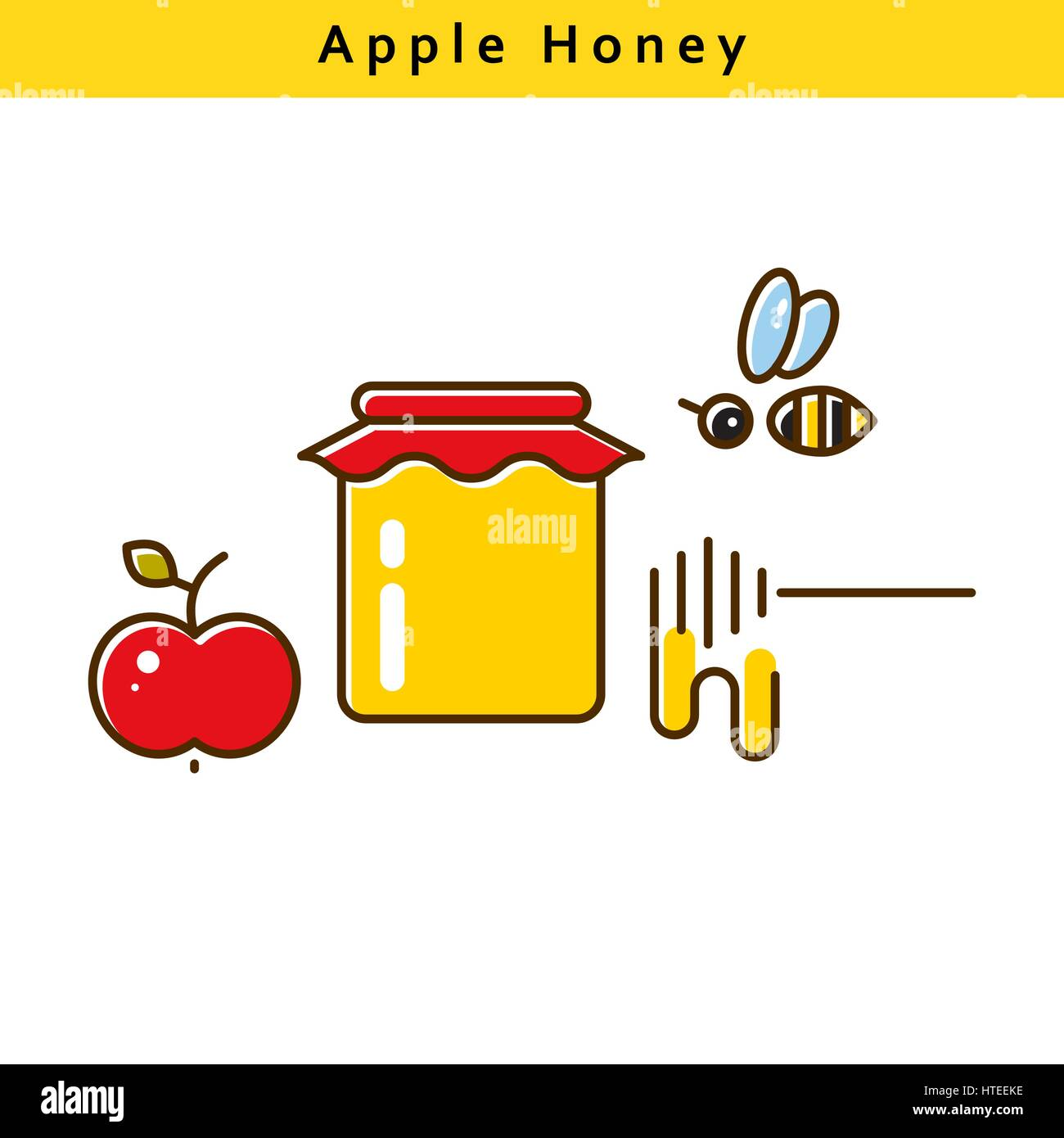 Apple honey vector colored line icons. - Stock Vector