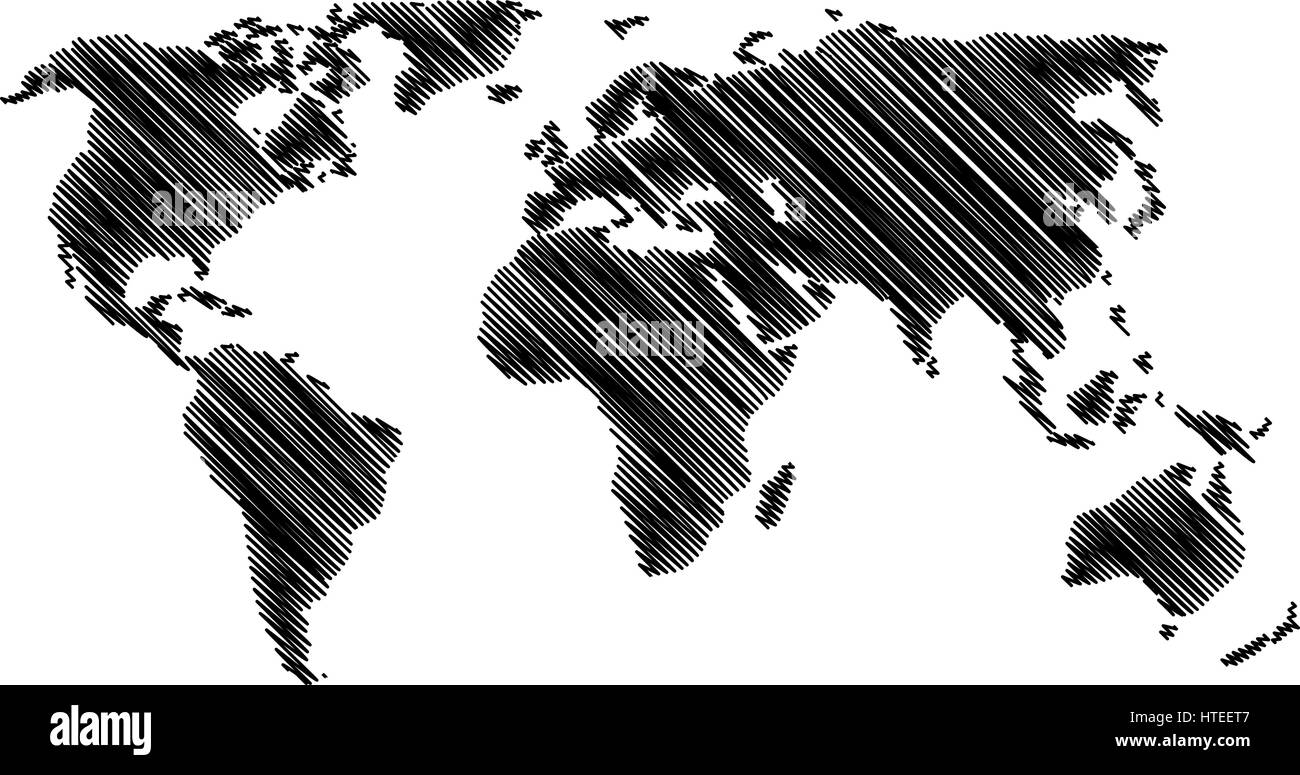 World Map - vector scribble, Sketchy World map, - Stock Image