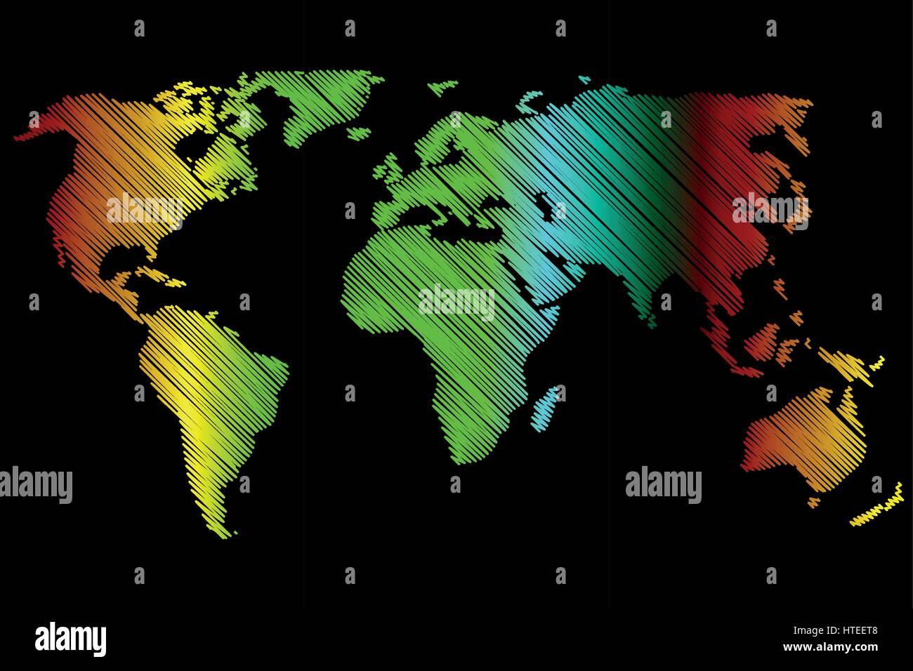 World Map - vector scribble, Sketchy World map, - Stock Vector