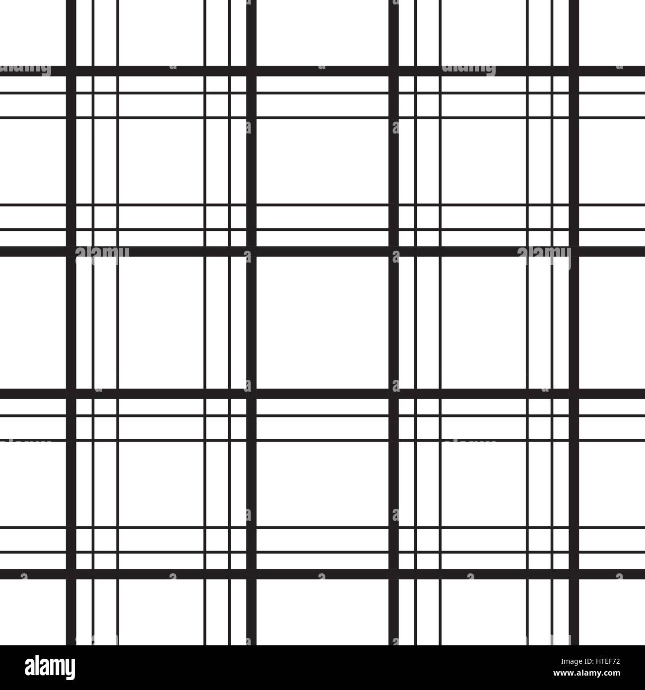 Geometric Plaid Line Black And White Minimalistic Vector Pattern