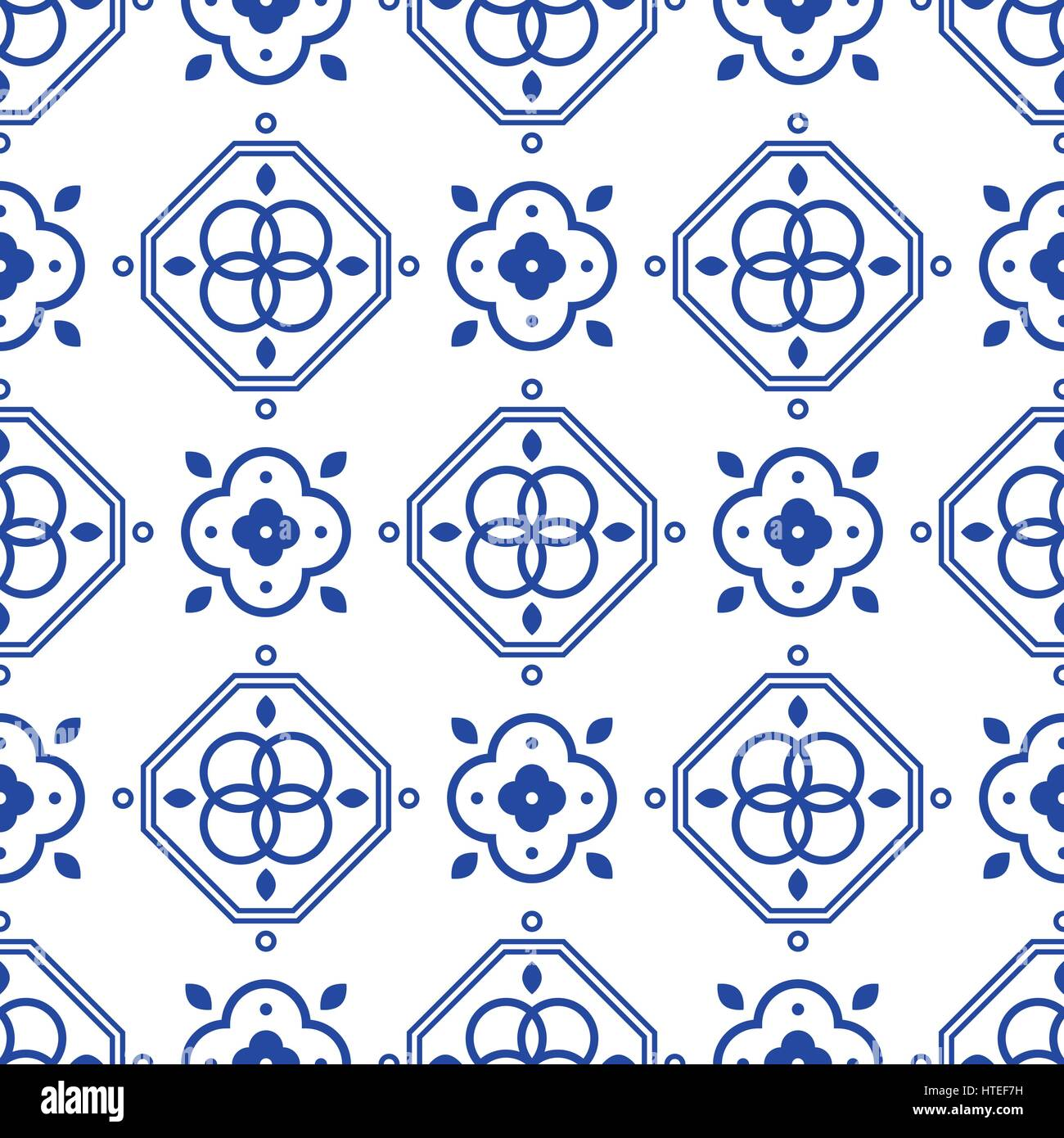 Blue and white portugeese mediterranean seamless tile pattern Stock ...