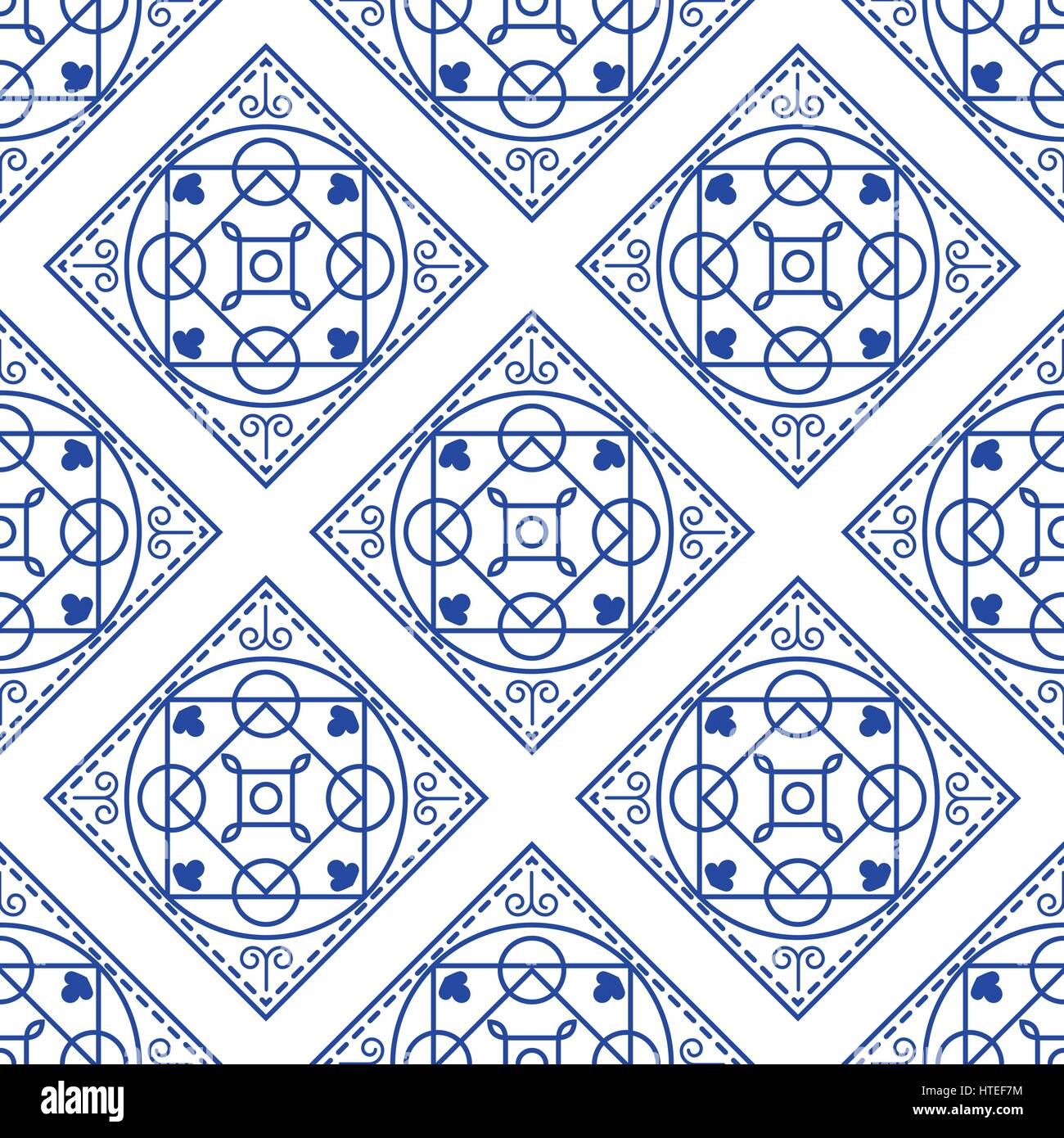 Portuguese blue and white mediterranean seamless tile pattern Stock ...