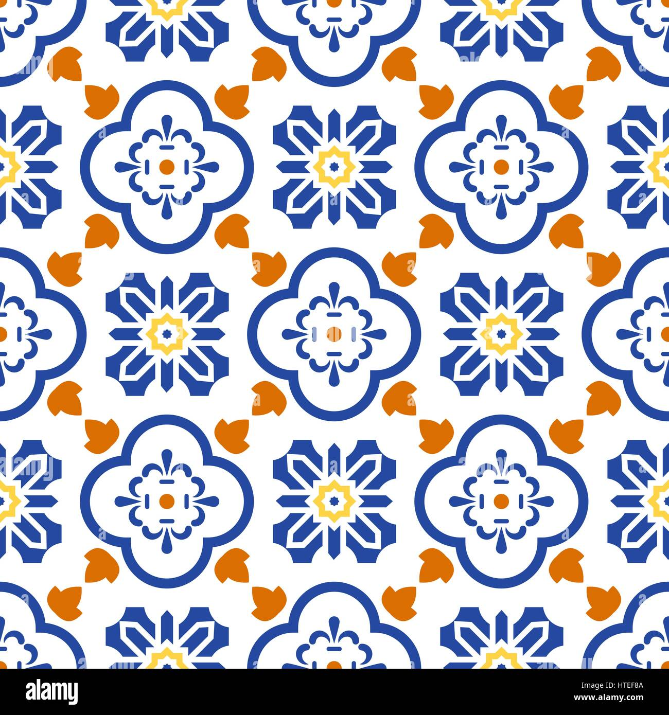 Ceramic blue and white mediterranean seamless tile pattern ...