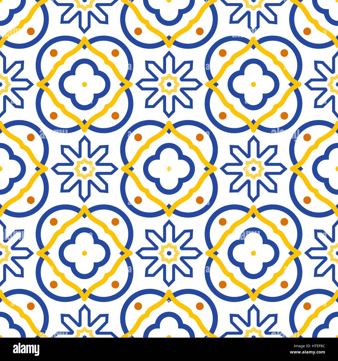 Azulejos blue and white mediterranean seamless tile pattern Stock ...