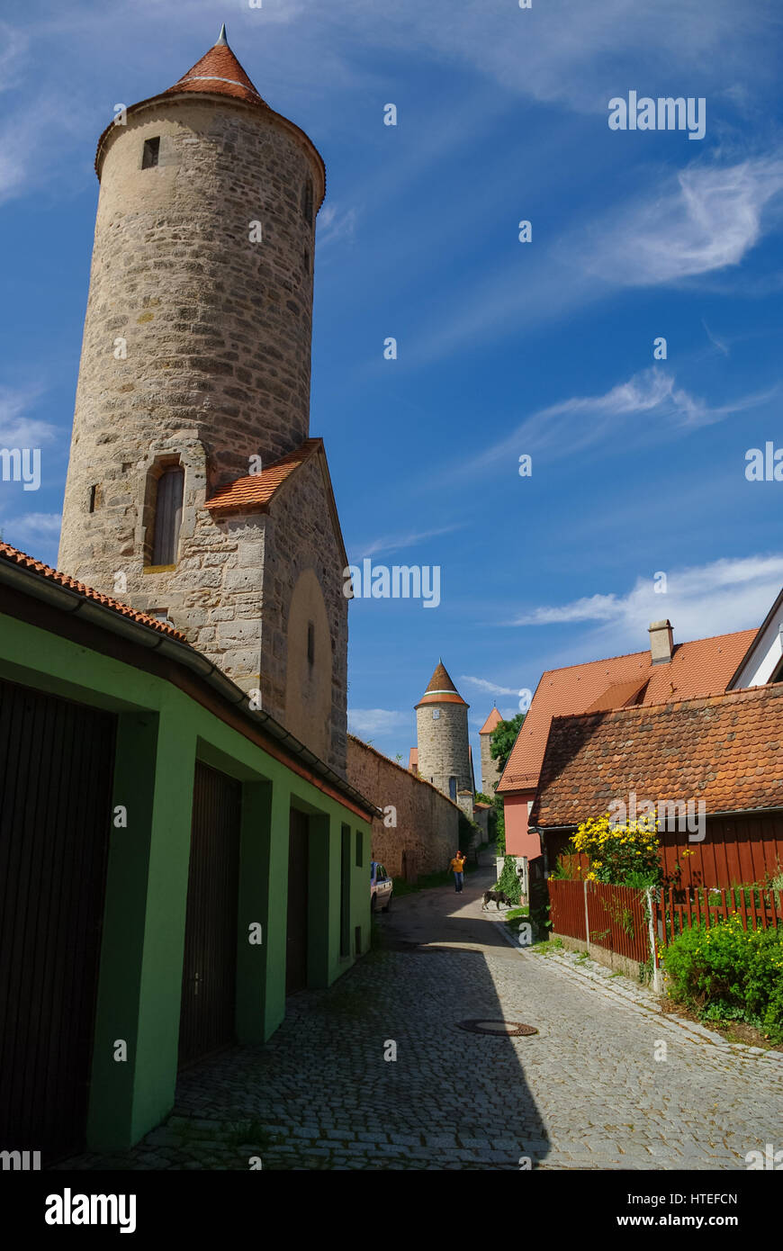 City walls and towers of Dinkelsbuhl, one of the archetypal medieval towns on the German Romantic Road. Germany - Stock Image
