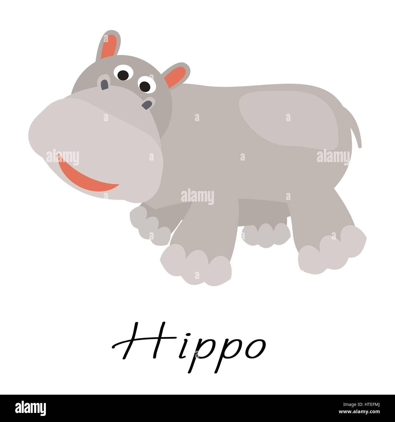 Hippopotamus Wild Cartoon Animal Vector Illustration On White