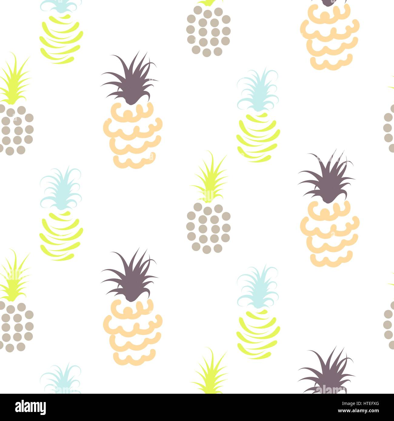 Abstract pineapple pastel colors pattern. Light baby ananas seamless surface texture design for nursery child apparel. - Stock Vector