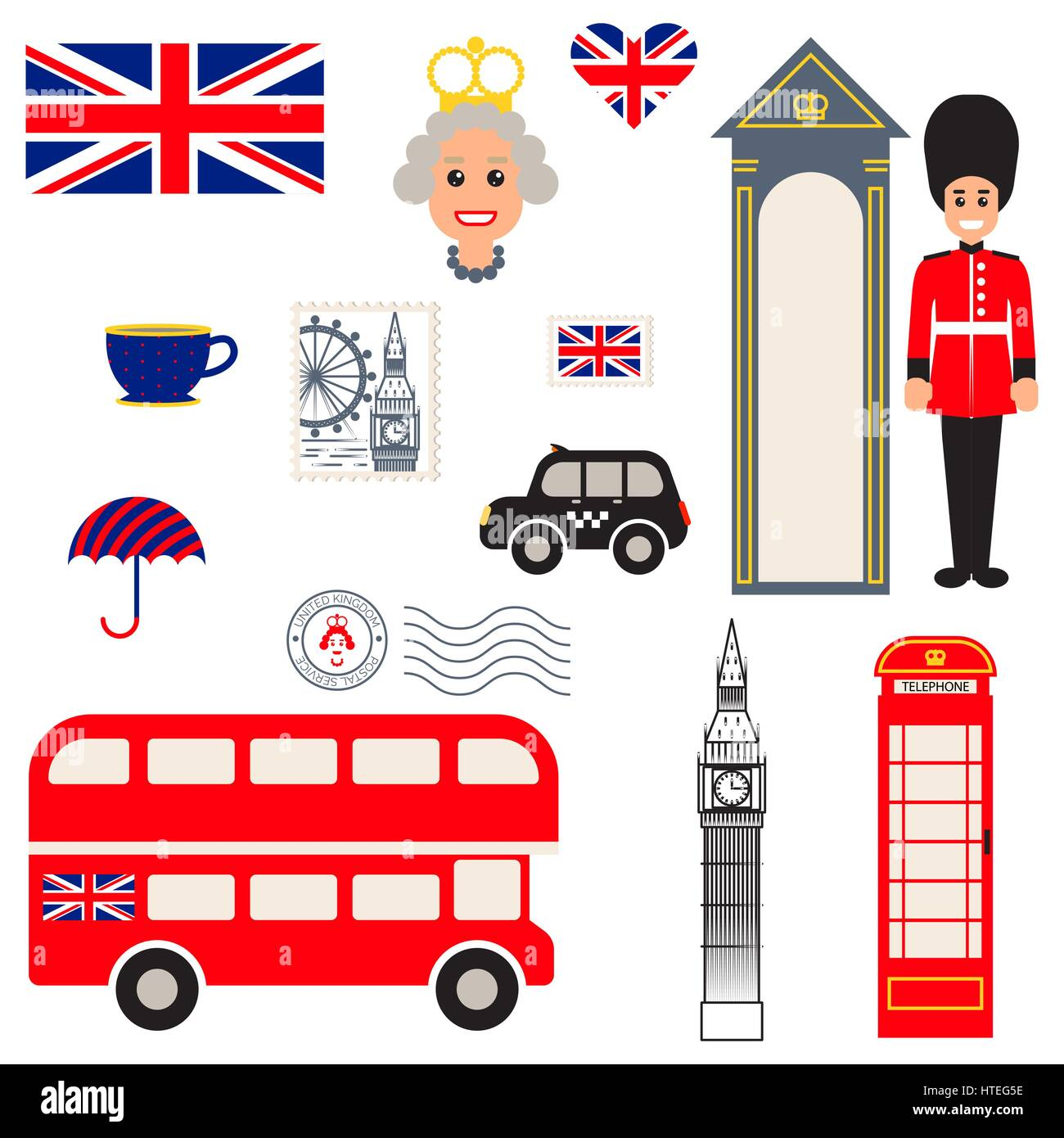 England vector traditional symbols. - Stock Image