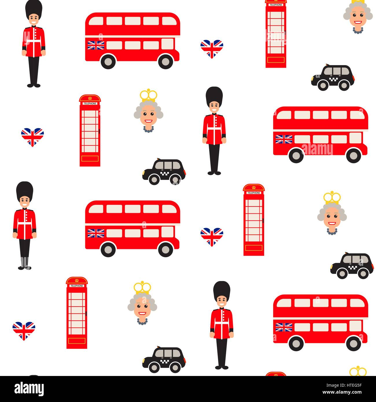 England symbols vector seamless pattern. - Stock Image