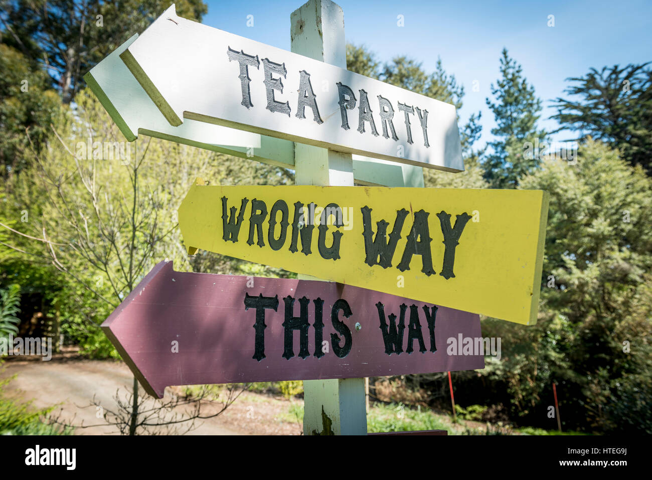 Curios sign post, This Way, Wrong Way, Larnach Castle, Otago, New Zealand - Stock Image