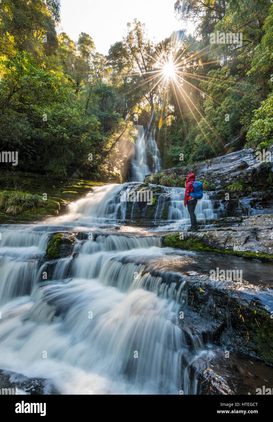 Hiker at McLean waterfall, Sun Star, The Catlins, Otago, Southland, New Zealand - Stock Image