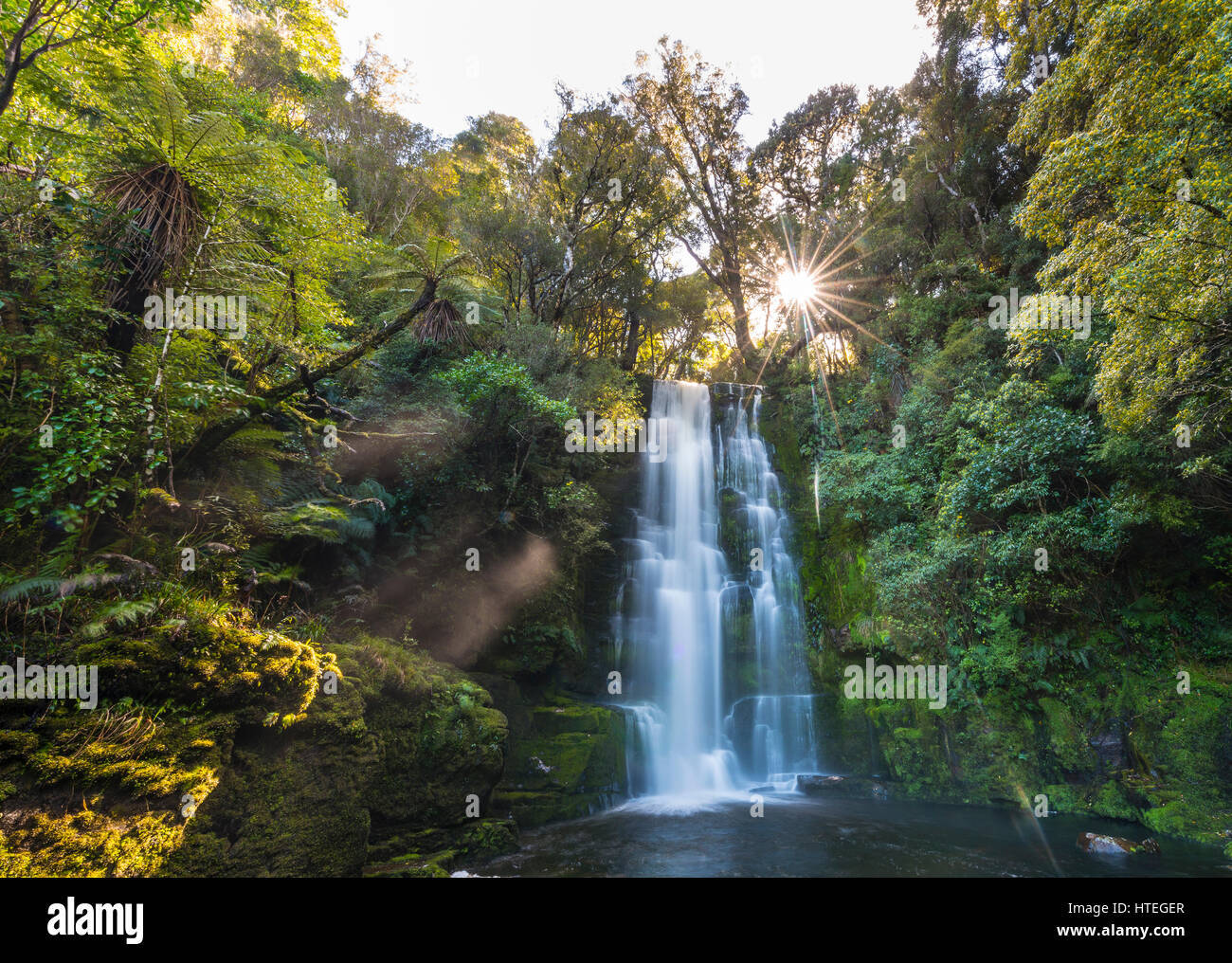 McLean waterfall, Sun Star, The Catlins, Otago, Southland, New Zealand - Stock Image