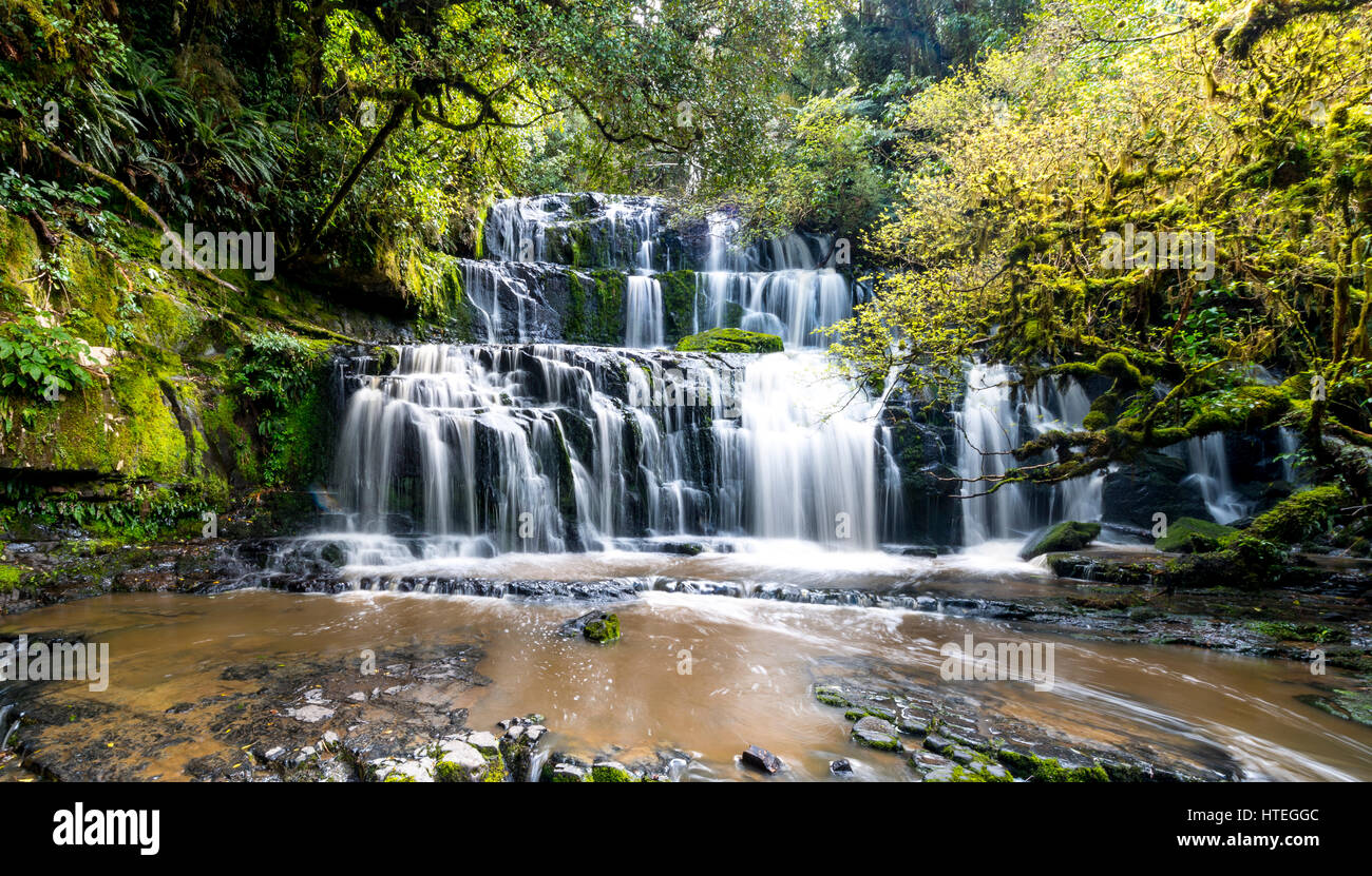 Purakaunui Falls, waterfall, The Catlins, Otago, Southland, New Zealand - Stock Image