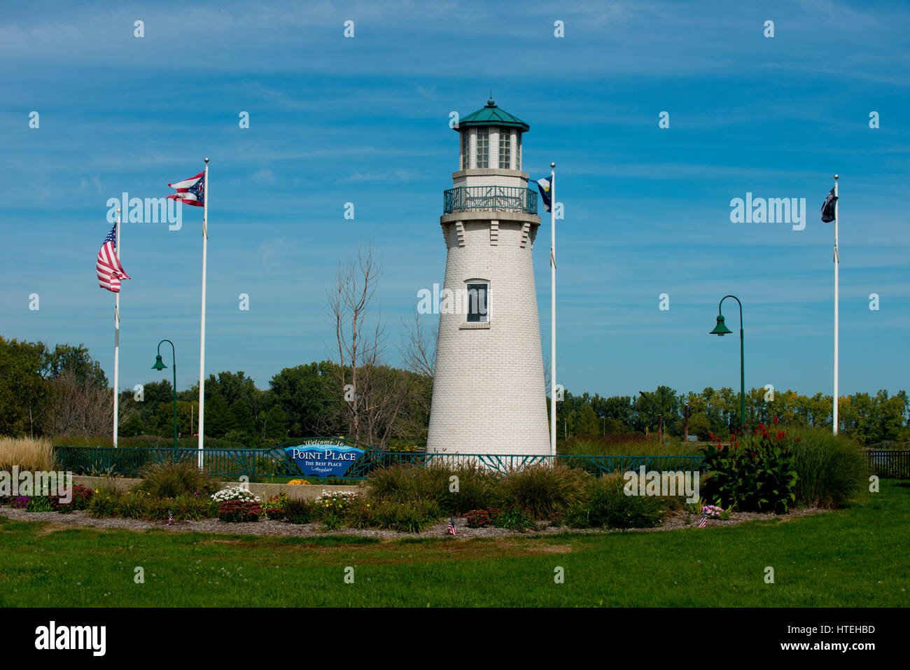 light house in point place toldeo ohio - Stock Image