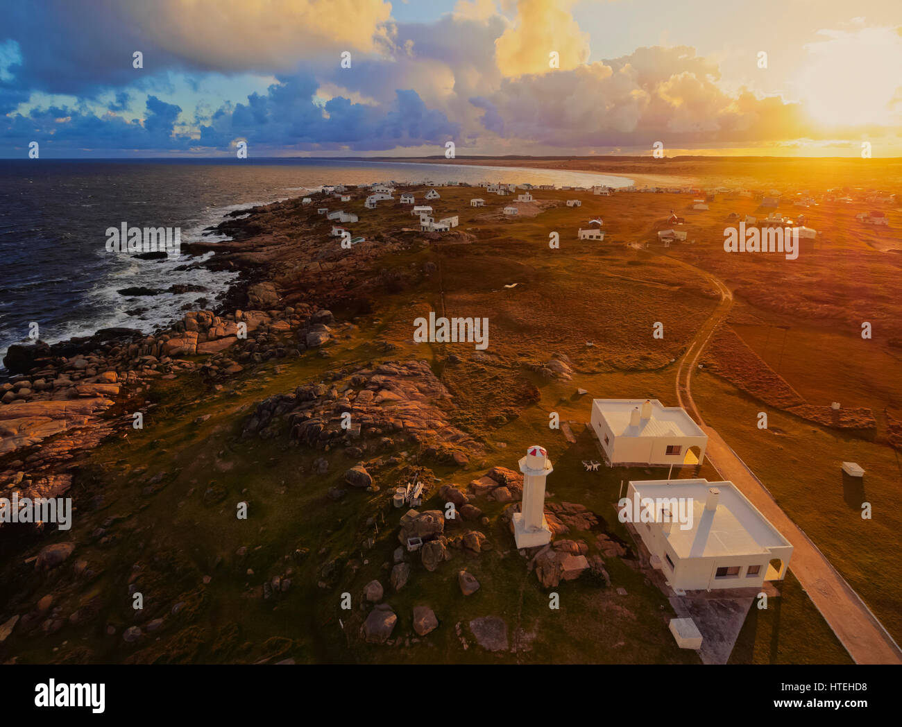 View of the Cabo Polonio at sunset, Rocha Department, Uruguay Stock Photo