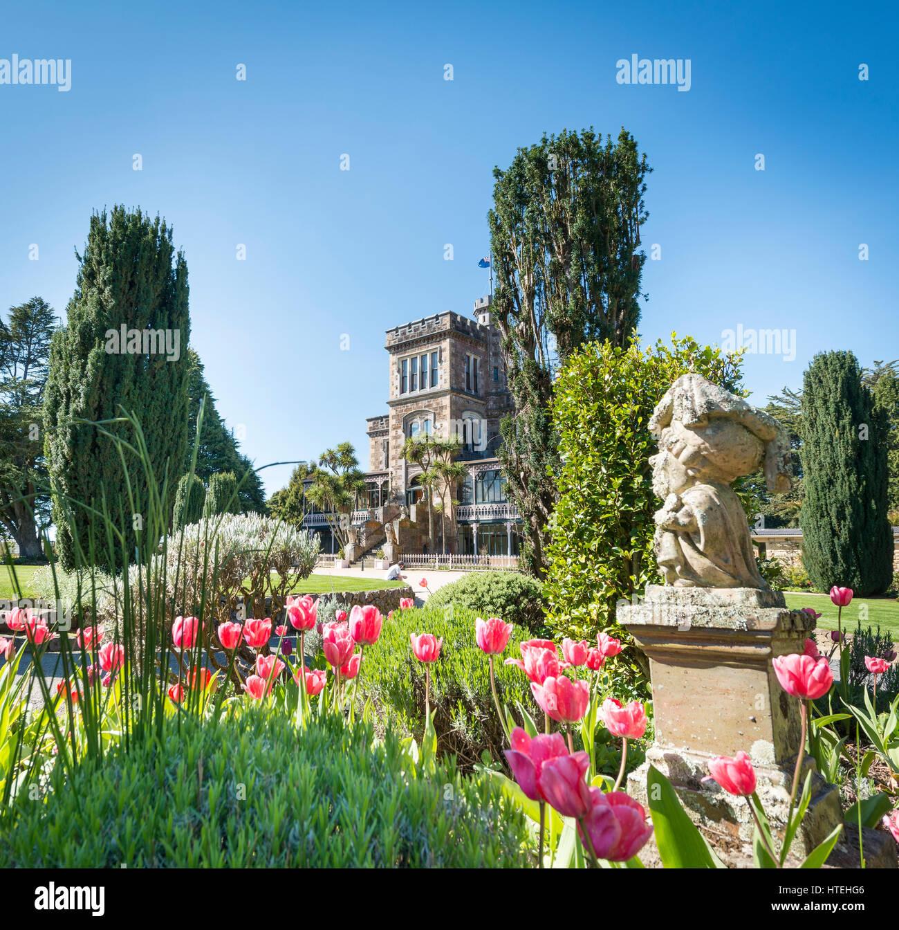Larnach Castle, park and castle, Dunedin, Otago Peninsula, Southland, New Zealand Stock Photo