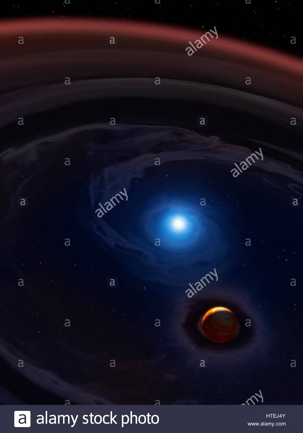 SDSS 1557 is a binary star system, 1000 light-years away, consisting of a white dwarf orbiting a brown dwarf. Astronomers - Stock Image