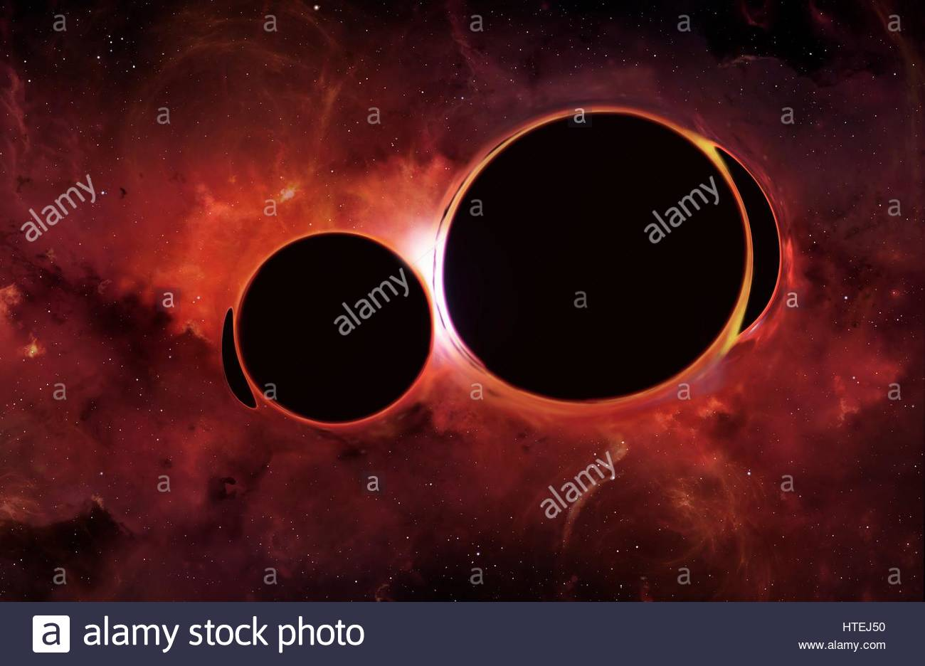 Illustration of two black holes orbiting each other.Eventually black holes will merge,an event that will produce - Stock Image