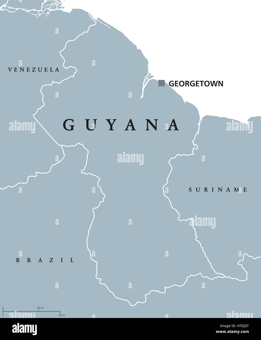Guyana political map with capital Georgetown and national borders