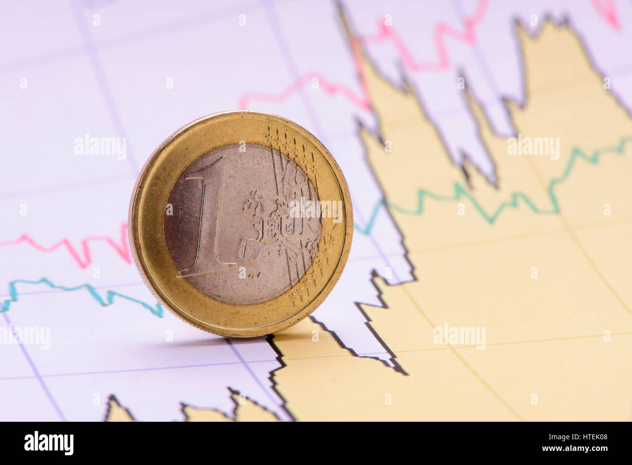 euro coin on financial business chart Stock Photo