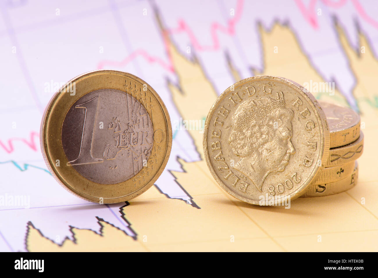 euro coin and british pound on financial business chart Stock Photo