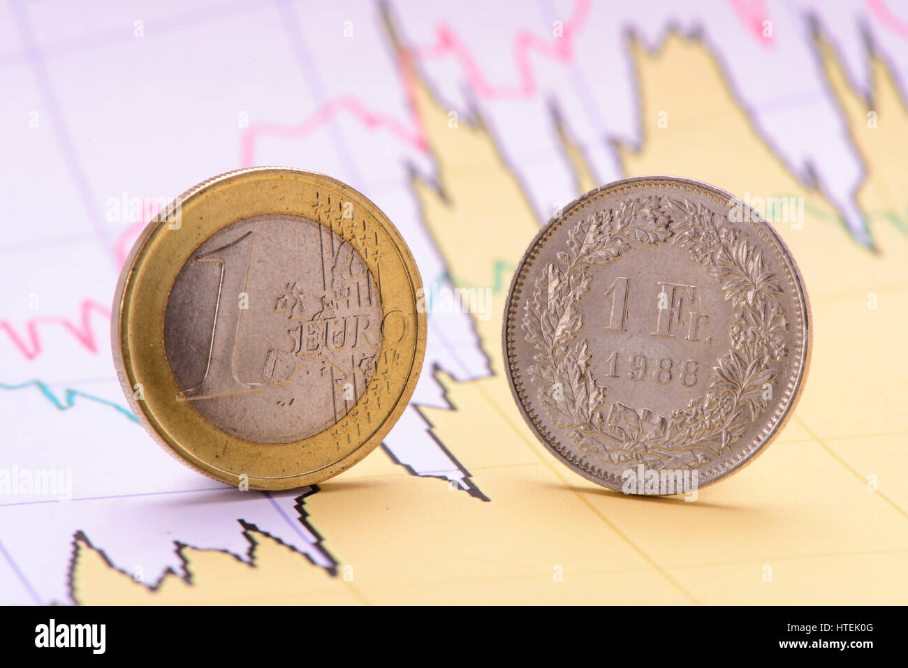 euro coin and swiss franken on financial business chart Stock Photo