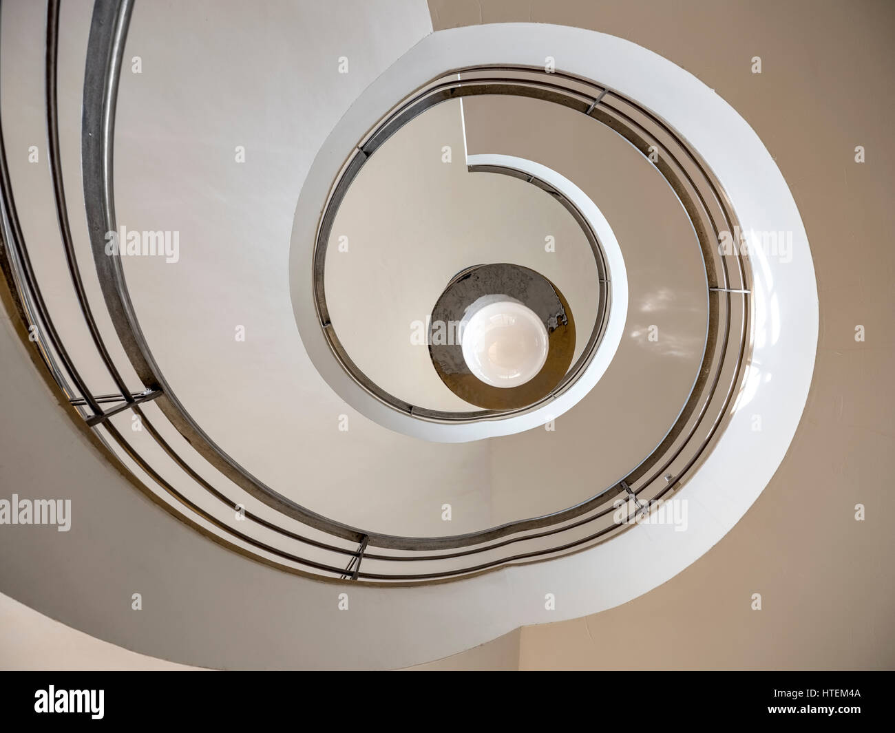 The spiral staircase inside the De La Warr Pavilion, Bexhill East Sussex - Stock Image