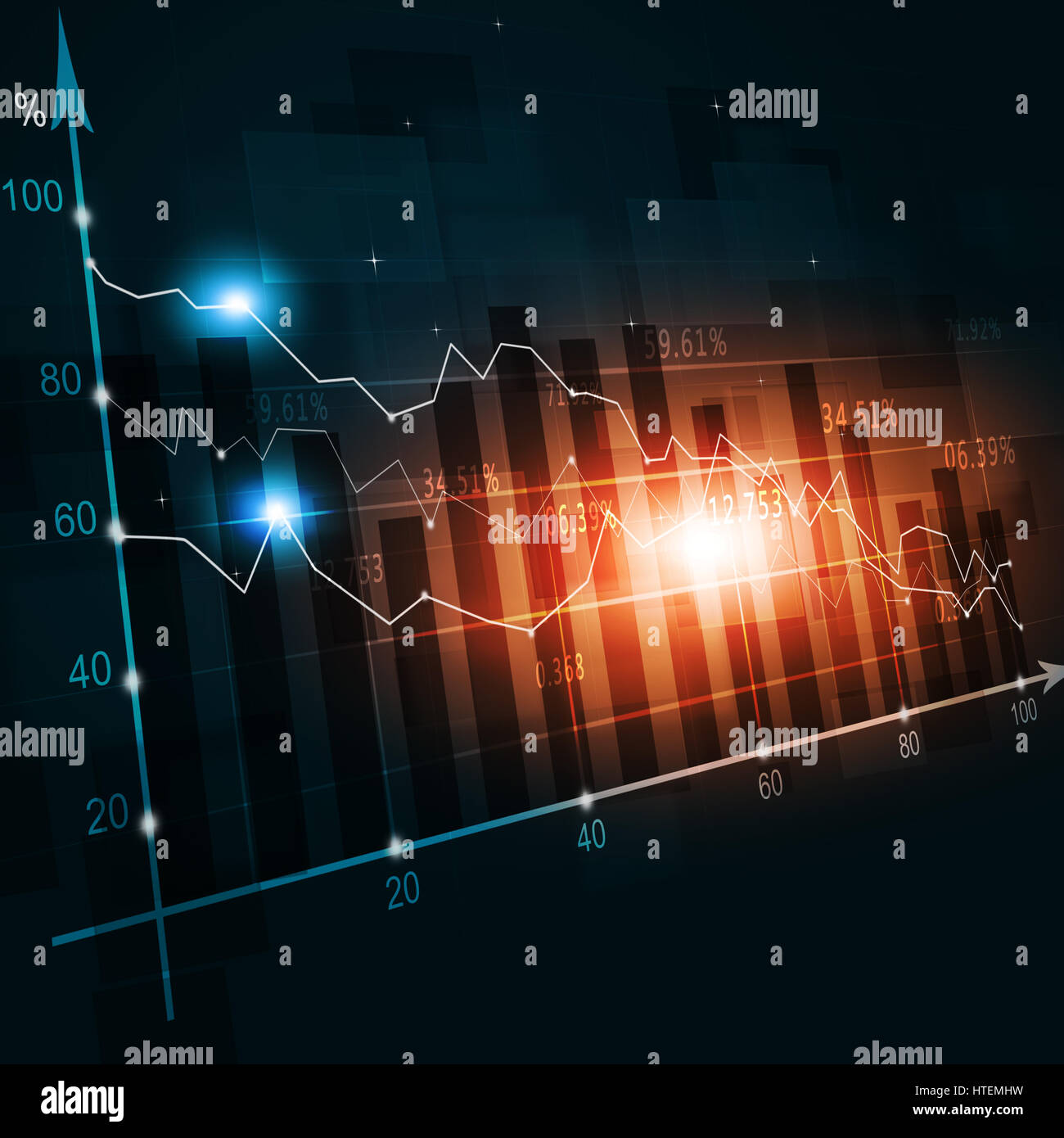 abstract finance crisis diagram on world map red lights - Stock Image