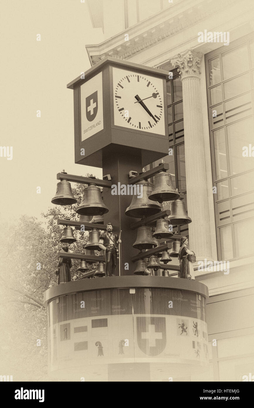 Swiss Glockenspiel clock at Leicester Square, London in September - Stock Image
