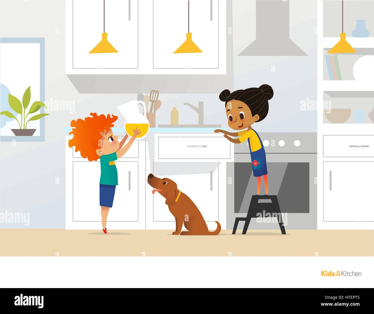 Children Cooking Food In Kitchen Red Head Boy Holding Pitcher With Drink Girl Apron Standing By Stove And Cute Pet Dog Home Alone Concept