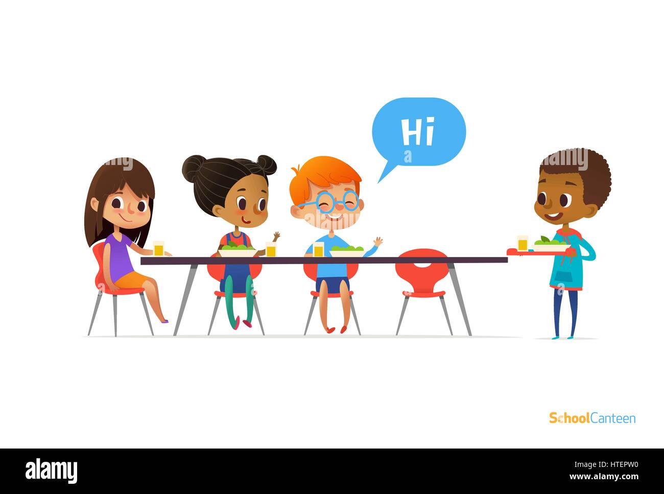Multiracial kids sitting at table in school canteen and greeting multiracial kids sitting at table in school canteen and greeting newcomer boy holding tray with food children s relationships concept m4hsunfo