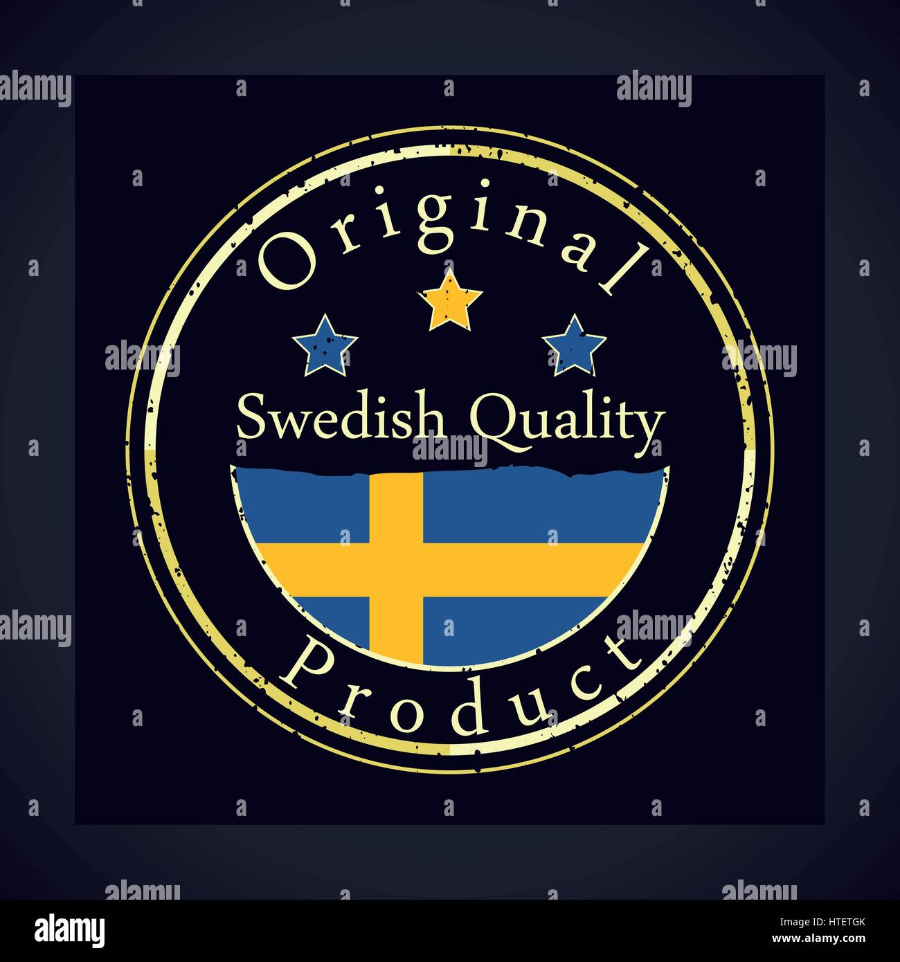 best service 92f61 c10db Gold grunge stamp with the text Swedish quality and original product. Label  contains Swedish flag - Sweden.
