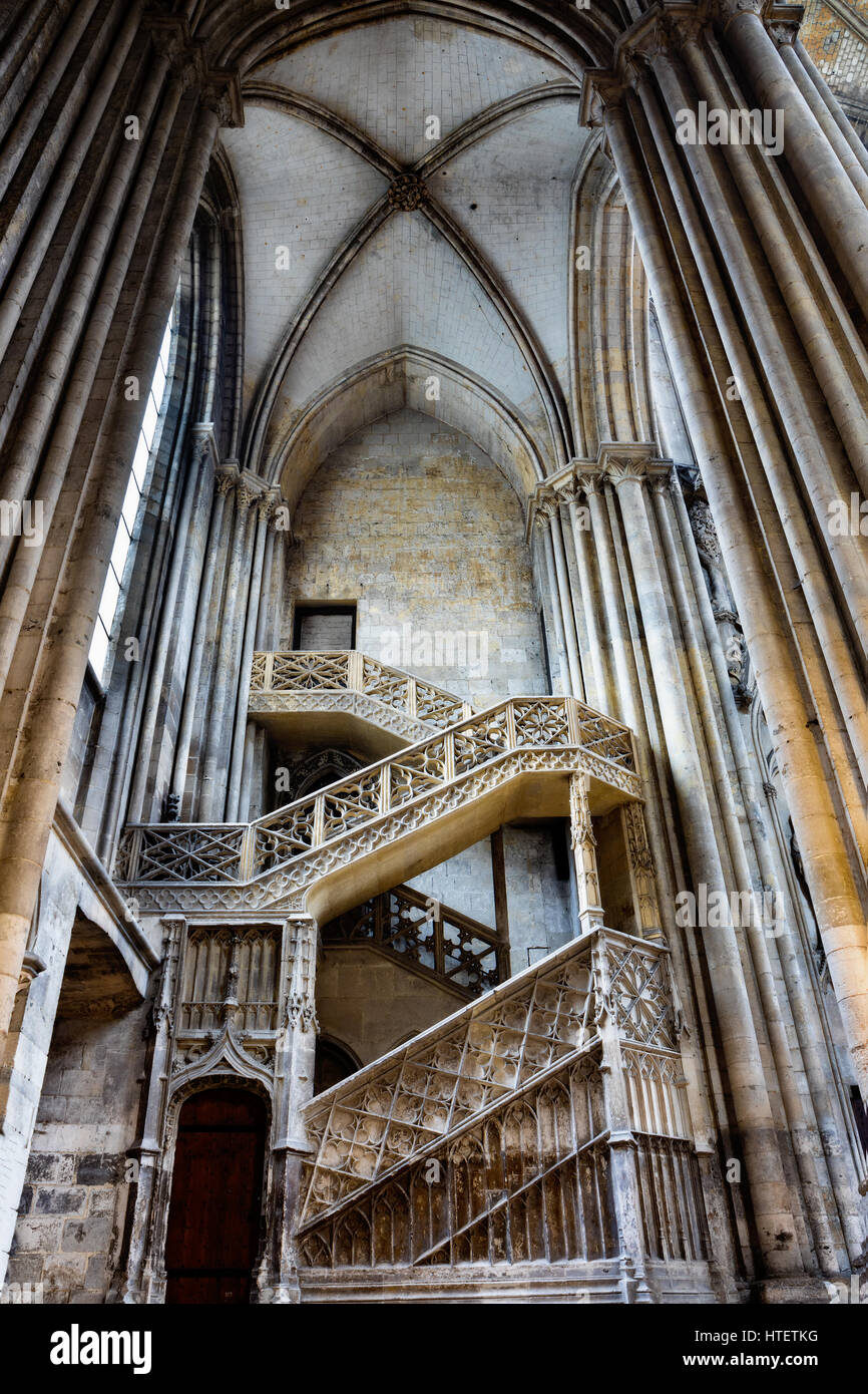 Booksellers staircase, Rouen Cathedral, Upper Normandy, France - Stock Image