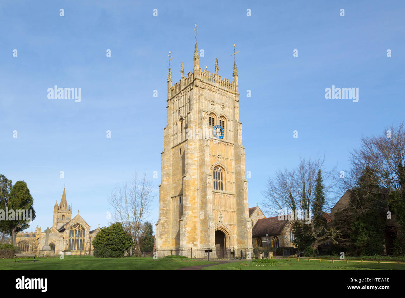 The Bell Tower, Evesham, Worcestershire England UK, built in the 16th century as part of Evesham Abbey - Stock Image