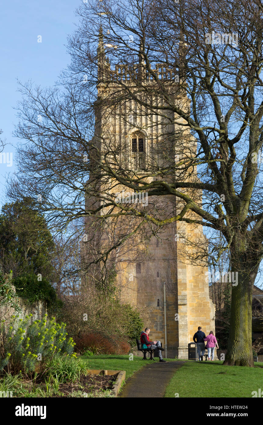 Evesham Bell Tower,  Worcestershire England UK, built in the 16th century as part of Evesham Abbey - Stock Image