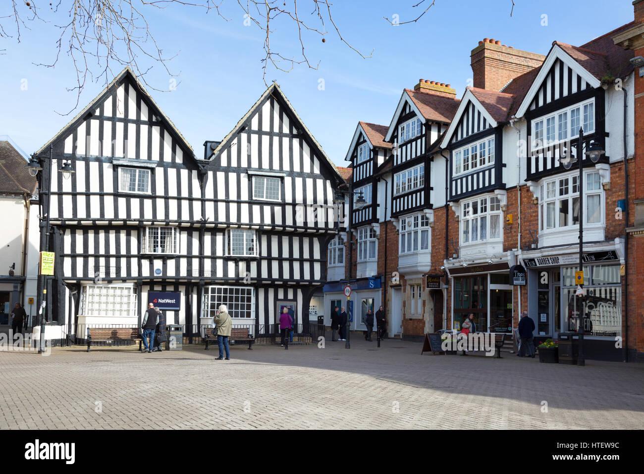 Evesham UK - medieval buildings in Evesham town centre, Evesham, Worcestershire England UK - Stock Image