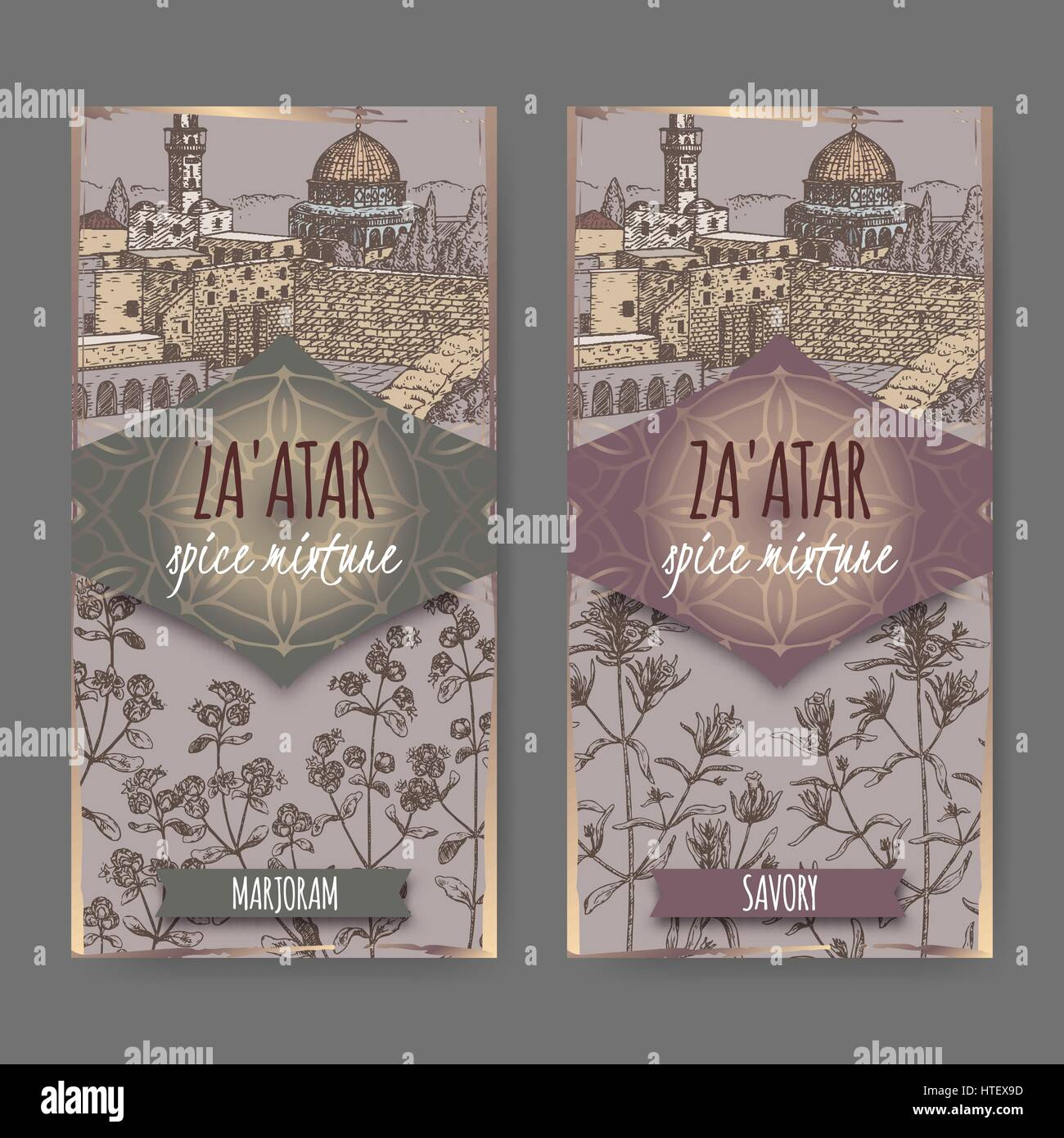 Two Zaatar spice mixture labels with Jerusalem town