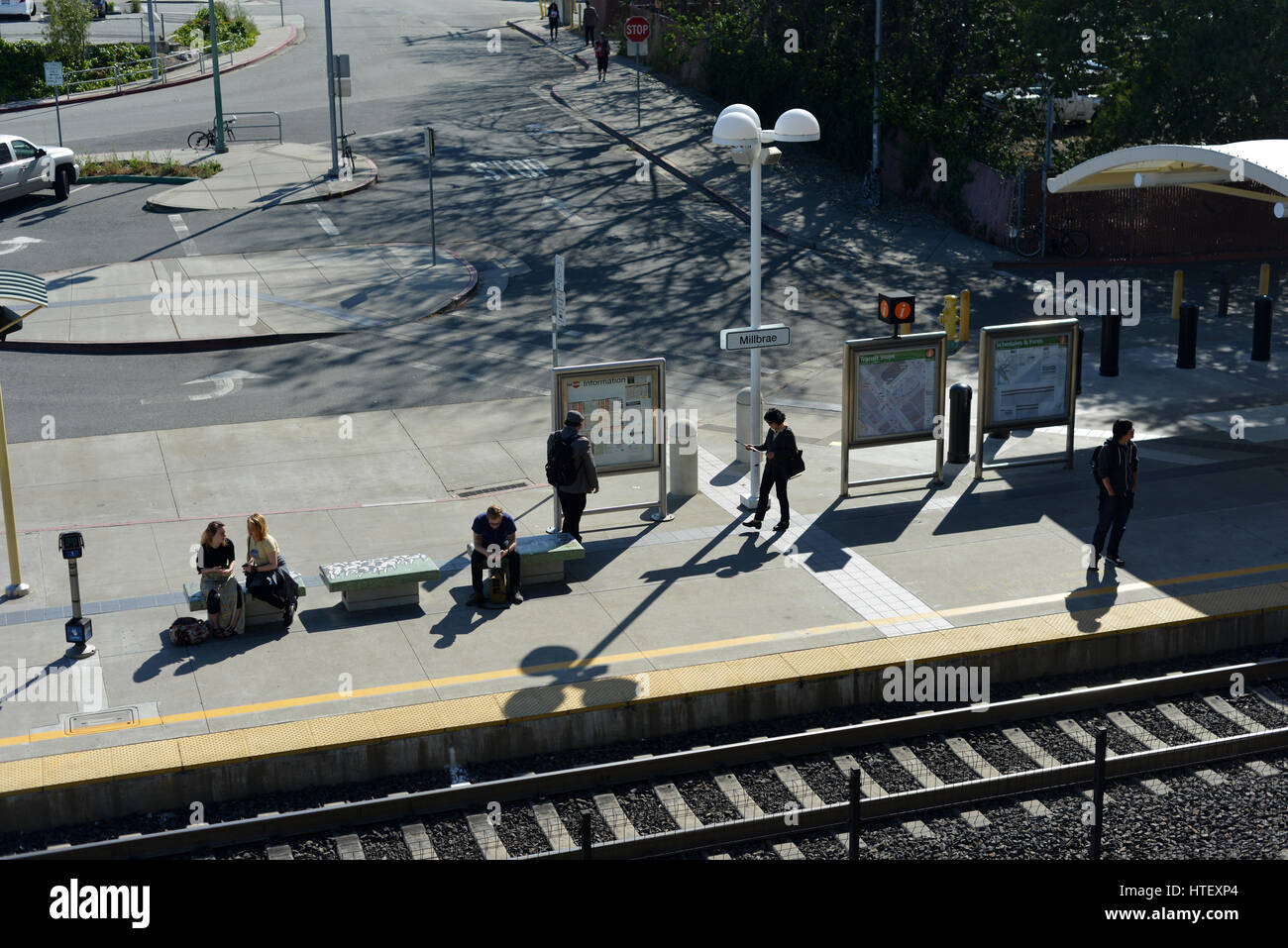 Caltrain and BART station at Millbrae, San Francisco, California, USA - Stock Image